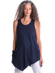 Asymmetrical A-line Pocket Tunic Tank, Navy by Alembika