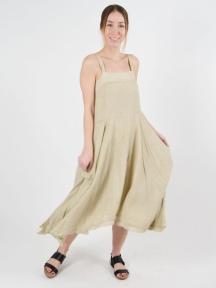 Biscuit Linen Dress by Inizio