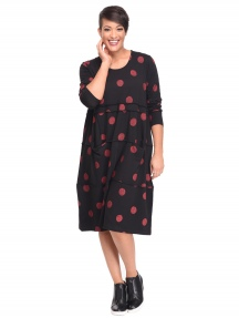 Black Thumbprint Eliana Dress by Snapdragon & Twig