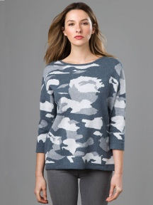 Cashmere Blend Camo Pullover by Kinross Cashmere