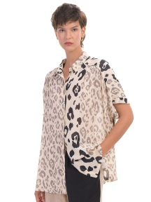 Cheetah Print Button Down Top by Alembika