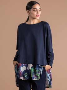 Cobalt Floral Layered Top by Alembika