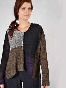 Colorblock V-Neck Sweater by Alembika