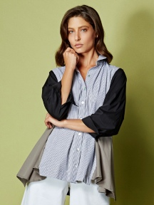 Cotton Shirt Stripe/Colorblock by Alembika