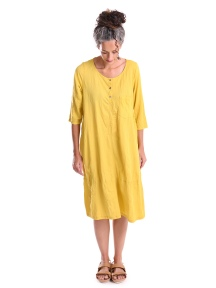 Crinkled Lemon Yellow Henley Dress by Alembika