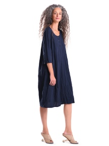 Crinkled Navy Blue Henley Dress by Alembika