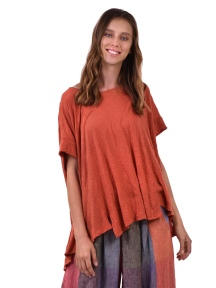 Crinkled Swing Tee in Coral by Alembika