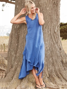 Cross Breeze Linen Dress by Inizio