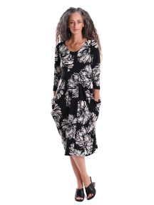 Dahlia Print Fitted Scoop Dress by Alembika