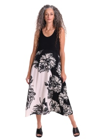 Dahlia Print Sleeveless Maxi Dress by Alembika