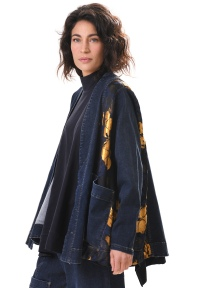Gold Brocade Denim Jacket by Alembika