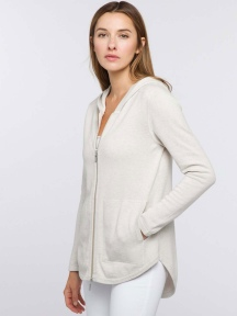 Hi Low Zip Hoodie by Kinross Cashmere