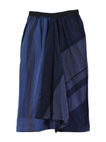Indigo Striped Wide Leg Crop Pant