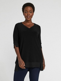 Jersey Motion Elbow Sleeve Step Hem Tunic by Sympli