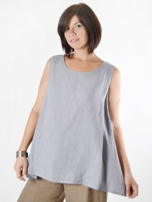 Light Linen Long Trapeze Tank by BRYN WALKER