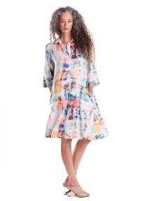 Linen Brushstroke Shirt Dress by Alembika