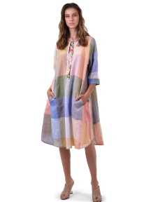 Linen Check A-Line Dress by Alembika