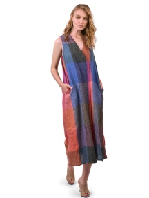 Linen Check Sleeveless Maxi Dress by Alembika