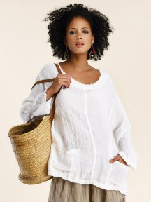 Linen Gauze Pocket Top by Luna Luz