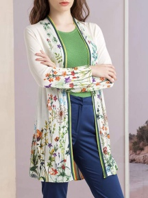 Long Floral Print Cardigan by Ivko