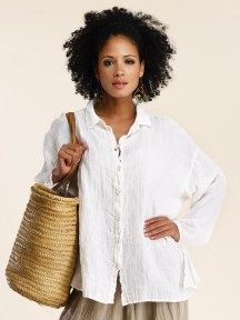 Long Sleeve Linen Gauze Button Up Shirt by Luna Luz