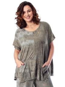 Moss Green Suedette Tunic by Alembika