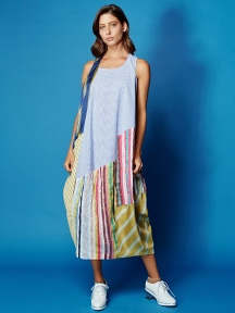 Patchwork Stripe Tank Dress by Alembika