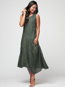 Pine Linen Dress by Inizio