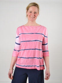 Pink/Blue Stripe Top by Annie Turbin