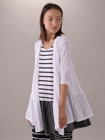 Relaxed Ruffle Cardigan Jacket, White by Composition