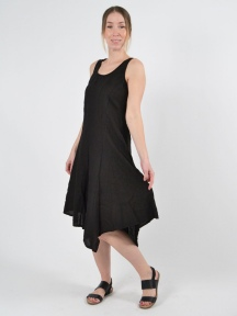 Scoop Neck Linen Dress by Inizio