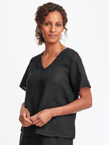 Short Sleeve V-neck Cropped Tee by Flax