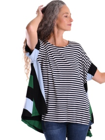 Striped Mixed Media Jersey Top by Alembika