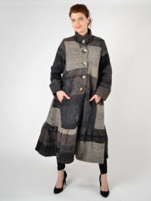 Taupe Boiled Wool Ruffle Coat by Alembika