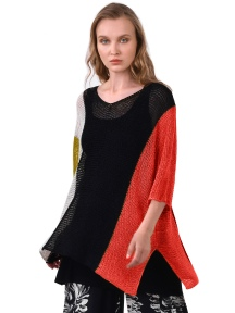 V-Neck Color Block Knit Sweater by Alembika