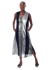 V-Neck Shimmer Stripe Midi Dress by Alembika