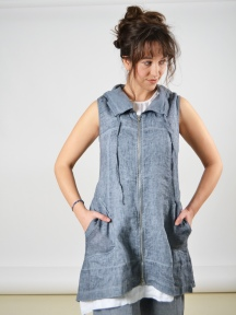 Weathered Linen Tunic Vest by Inizio