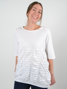 White Textured Top by Knit Knit