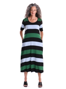 Wide Stripe Maxi Dress With Sleeve by Alembika