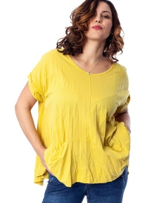 Yellow Crinkle Tee with Pockets by Alembika