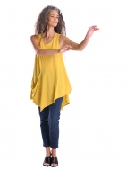 Asymmetrical A-line Pocket Tunic Tank, Lemon Yellow by Alembika