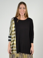 Black/Metallic Striped Dolman Top by Alembika