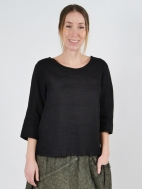 Boxy Linen Top by Inizio