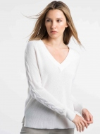 Cable Sleeve Vee Sweater by Kinross Cashmere