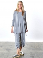 Grey French Terry Ruched Inman Shirt by Bryn Walker