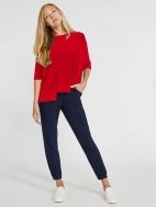 Jersey Motion Trim Boxy Elbow Sleeve Top by Sympli