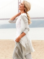 Linen Open Front Jacket by Inizio