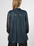 Metallic Turquoise Evening Blouse by Alembika