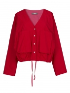 Red V-neck Blouson Jacket by Alembika
