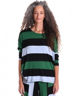 Rugby Stripe Mixed Media Wedge Tee by Alembika